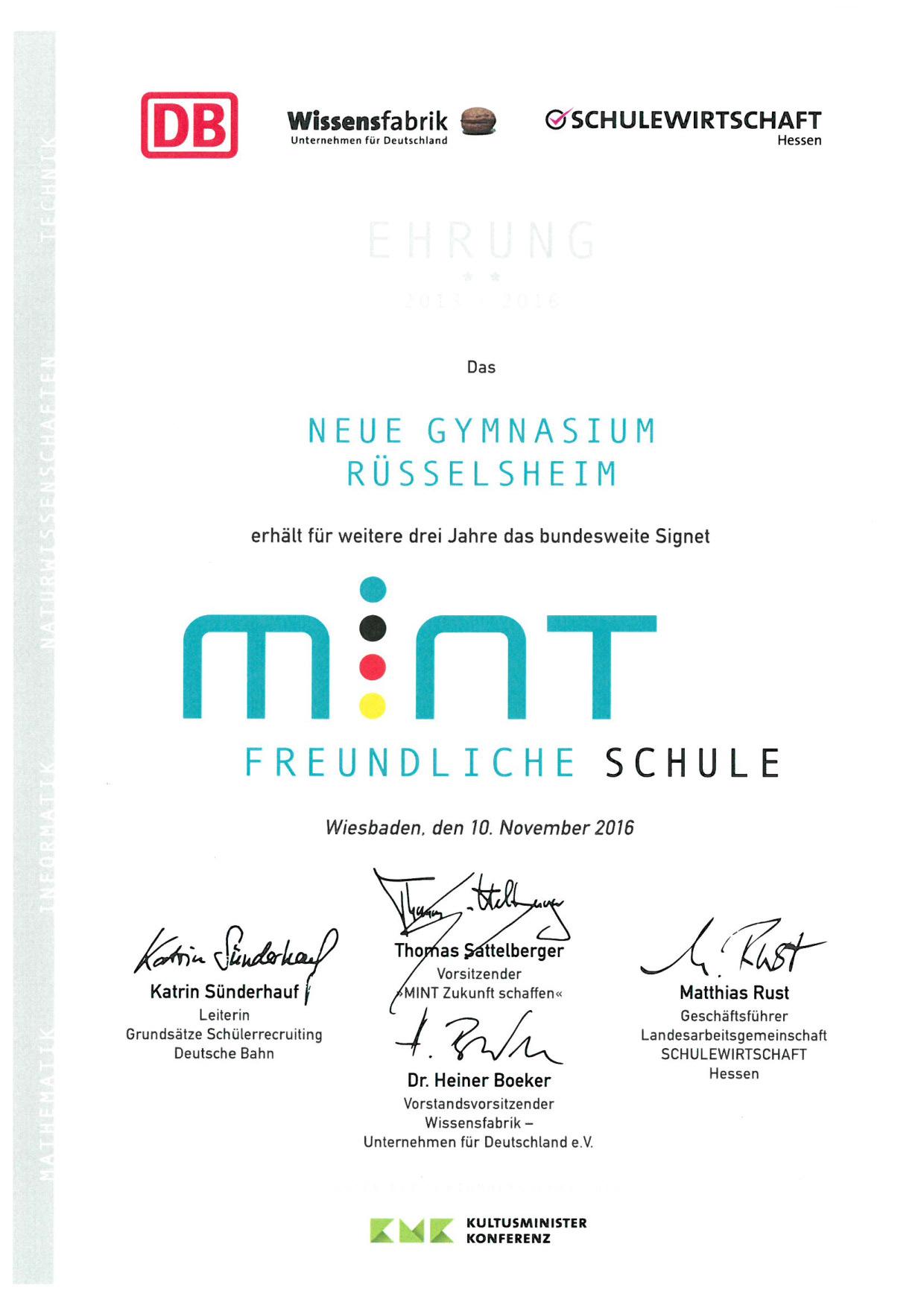 Urkunde über Mint-freundliche Schule
