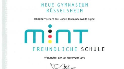 November 2016: Rezertifizierung als Mint-freundliche Schule
