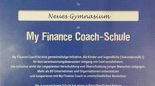 Auszeichnung für das Schuljahr 2014/2015 als My Finance Coach-Schule