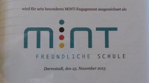 Seit November 2013 MINT freundliche Schule